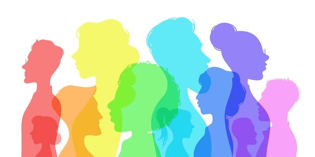 실루엣 사회적 다양성. 다양한 문화의 사람들. 남성과 여성 그룹 프로필입니다. 다문화 사회 벡터 개념의 인종 평등. 다민족 소녀와 소년, 의사 소통과 우정