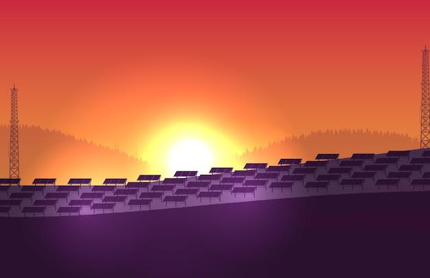 오렌지 그라데이션 배경에 실루엣 태양 전지 패널 농장