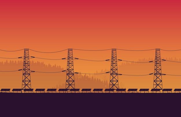 오렌지 그라데이션 배경에 고전압 전기 극과 실루엣 태양 전지 패널 농장