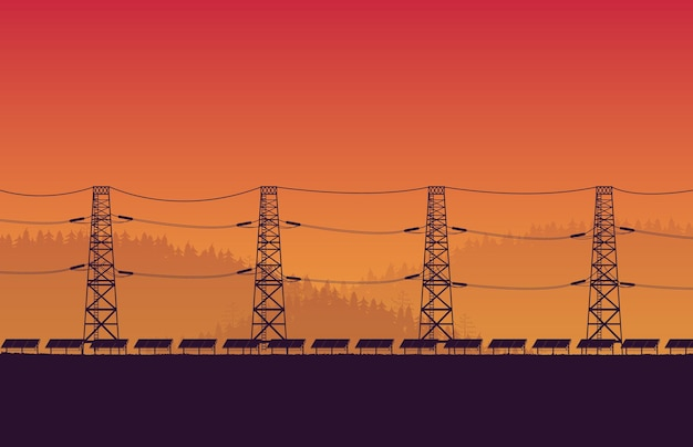 Silhouette solar panel farm with high voltage electric pole on orange gradient background