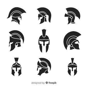 Silhouette spartan helmet collection Premium Vector