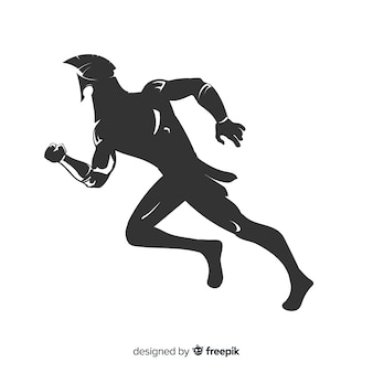 Silhouette of spartan warrior running