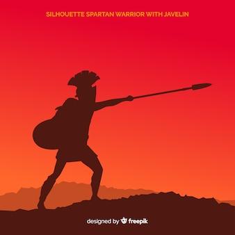 Silhouette of a spartan warrior training