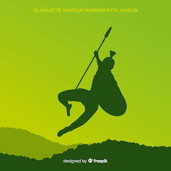 Silhouette of a spartan warrior training Free Vector