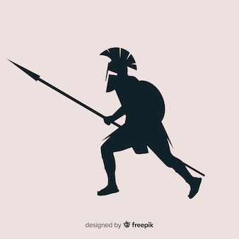 Silhouette of spartan warrior with javelin
