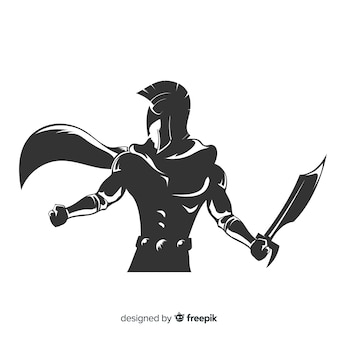 Silhouette of spartan warrior with sword