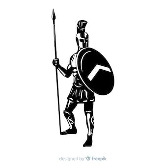 Silhouette di un guerriero spartano