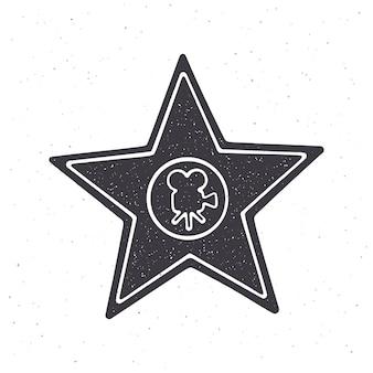 Silhouette of star shape award monument vector illustration symbol of the winner