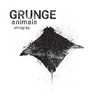 Silhouette stingray in grunge design style animal icon