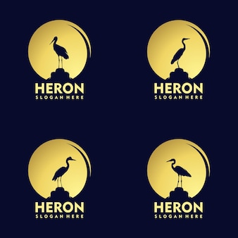Silhouette stork heron bird on gold sunset logo design