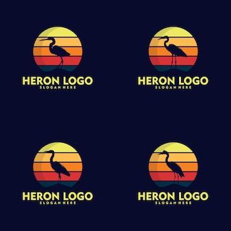 Silhouette stork heron bird on sunset logo design
