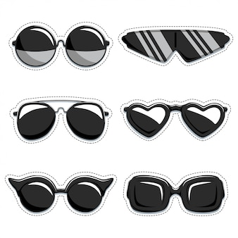 Silhouette of sunglasses set. fashion decorative labels. collection of design elements isolated on white background.