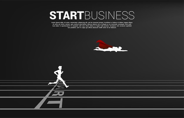 Silhouette super hero fly over the businessman from start line. concept of people ready to start career and business