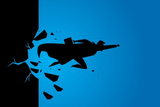 Silhouette superbusinessman breaking wall