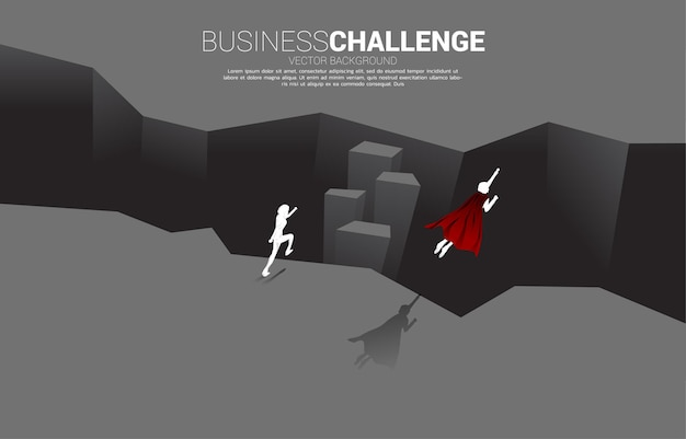Silhouette of superhero fly over across abyss. concept of business challenge and courage man