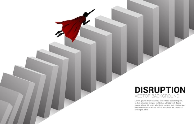 Silhouette of superhero fly over from the domino collapse. concept of business industry disrupt