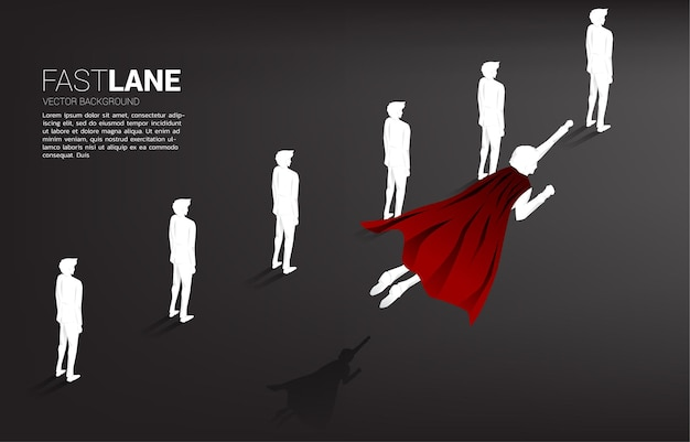 Silhouette of superhero flying over row of people. concept of boost and growth in business.