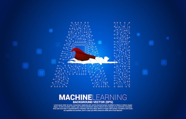Silhouette of superhero flying with dot connect line shaped ai and cpu center. concept for machine learning and artificial intelligence.
