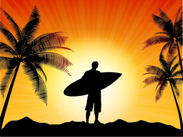 Silhouette of a surfer against a tropical
