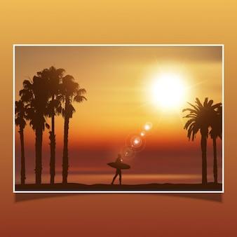 Silhouette di un surfista in un paesaggio tropicale