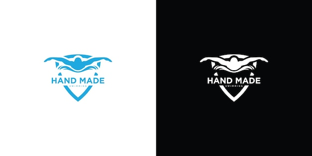 Логотип силуэт пловца premium векторы