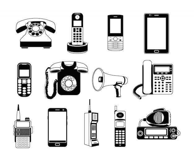 Silhouette of telephones and smartphones.