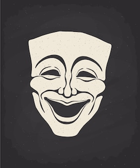 Silhouette of theatrical comedy mask on chalk board vector illustration vintage opera mask