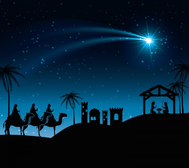 Silhouette three wise kings manger design illustration