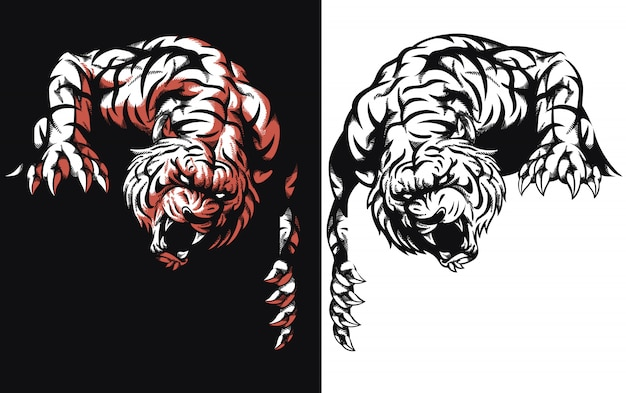 Silhouette tiger lurking ready attack logo icon illustration on black and white style