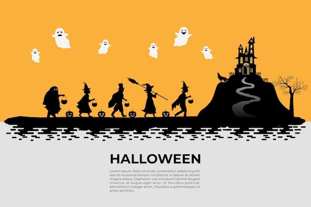 Силуэт для детей, одетых в фантазию на хэллоуин