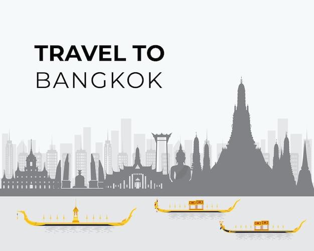 タイとランドマークと旅行へのシルエット