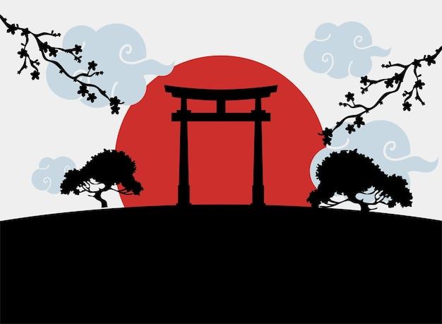 Силуэт ворота тории японский