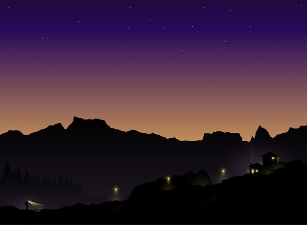 Silhouette of the tourist who hiking back to home in the twilight. vector illustration