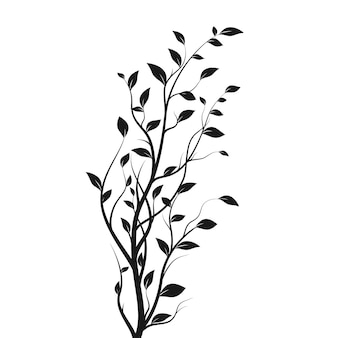 Silhouette tree branch. bush silhouette isolated on white background with a lot of leaves. vector illustration