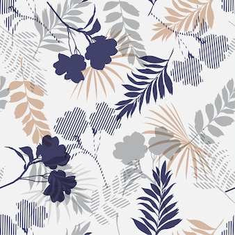 Silhouette tropical foliage and fill seamless pattern