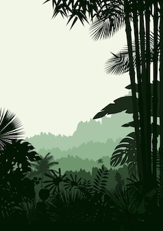 Silhouette of tropical forest background