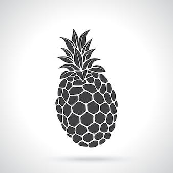 Silhouette of tropical fruit pineapple healthy vegetarian food vector illustration