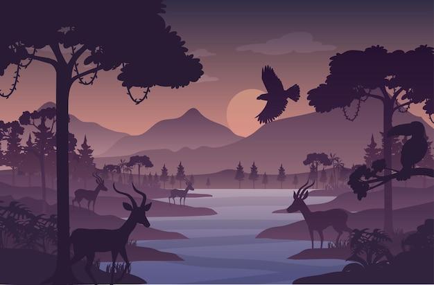 실루엣 황혼의 숲 풍경 배경