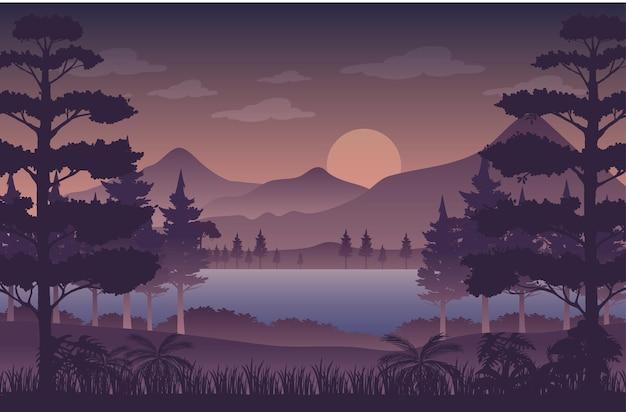 Silhouette twilight forest landscape background