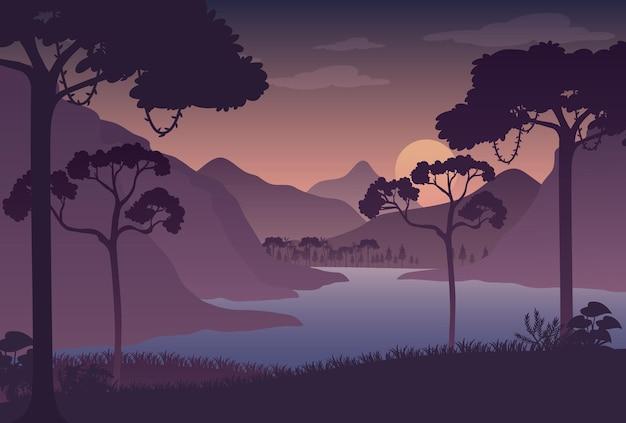 シルエット夕暮れの森の風景の背景