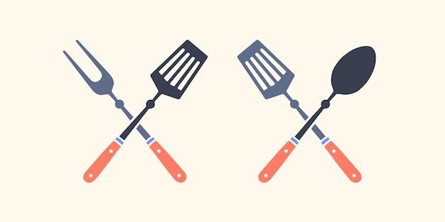 Силуэт два инструмента для барбекю, вилка для гриля, кухонный шпатель. набор инструментов для гриля.