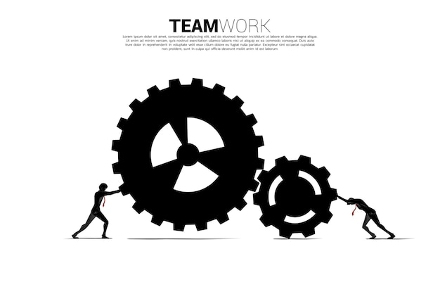Silhouette of two businessman pushing the gears to work. concept of business teamwork.