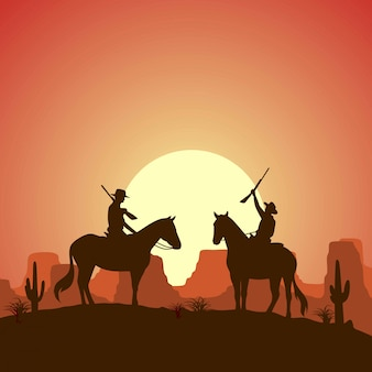 Silhouette two cowboys riding horses with guns