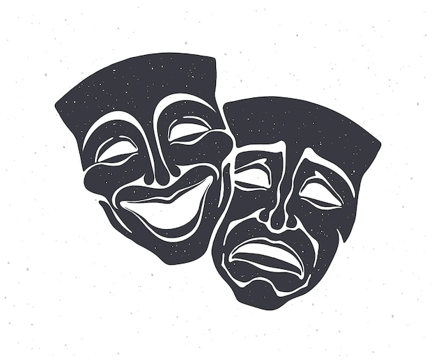 Silhouette of two theatrical comedy and drama mask vector illustration bipolar disorder symbol