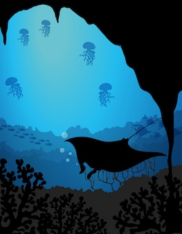 Silhouette underwater scene with stingray