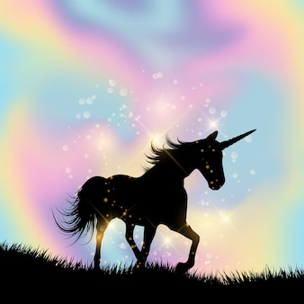 Silhouette of a unicorn on a hologram gradient background