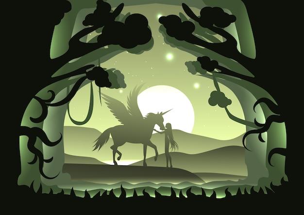 실루엣 유니콘, 페가수스와 밤 장면에서 달과 마운틴 숲에서 여성.