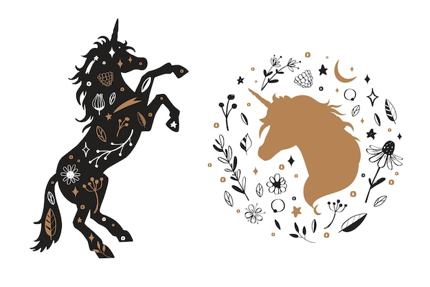 Silhouette of unicorn and unicorn head in the flower, rustic pattern.