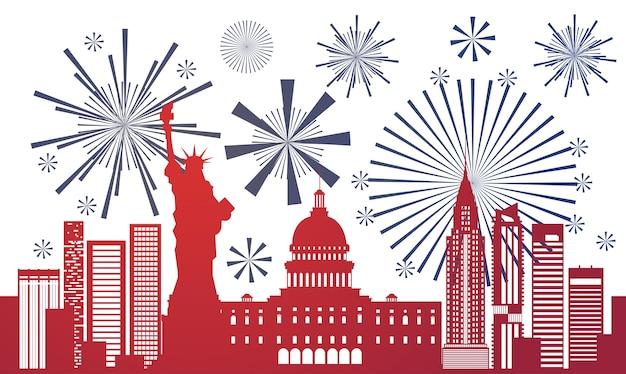 Silhouette united states landmarks