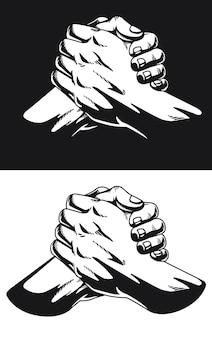 Силуэт городская душа рукопожатие застежка большого пальца homie